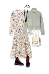 print dress and denim jacket