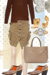CORD CARGO SKIRT WITH TIGHTS