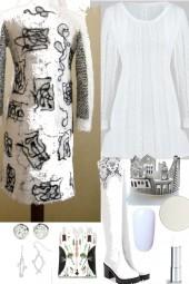 WHITE SWEATER DRESS.