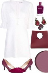 THREE QUARTER SLEEVED WHITE DRESS