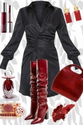 MONDAY BLACK DRESS, RED BOOTS