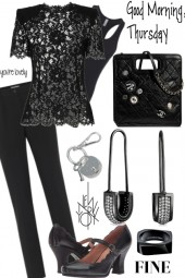 LACE SHIRT WITH D AND G PANTS