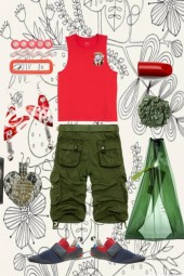 ARMY CARGOS WITH RED TANK