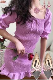 CASUAL ROMANCE ? TM SHIRRED DRESS WITH RUFFLE