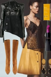 LEATHER SKIRT, CAMI AND LEATHER JACKET WINTER 2020