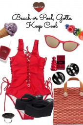 NEW RED SUIT FOR BEACH OR POOL