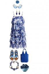 BLUE AND WHITE TIERED DRESS