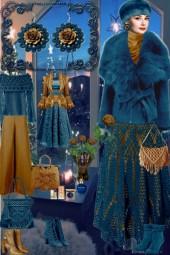 Серьги. Розы. Синий. Золотой. Зима. Интерьер