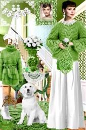 Набор. Милен. Белый. Зелёный. Интерьер