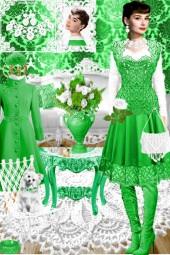 Набор. Милен. Белый. Зелёный 11 интерьер Весна