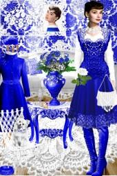 Набор. Милен. Белый. Синий. Интерьер 11 весна