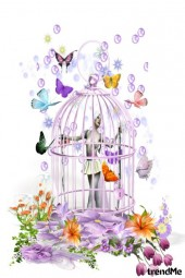 in cage....
