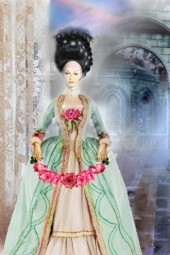 A doll with roses