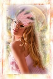 Under a pink mask