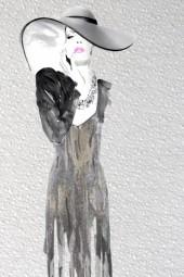 A lady in grey