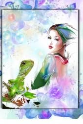 A girl with a lizard
