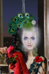 A lady in a peacock's feathers