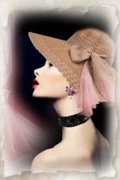 Straw hat with a bow