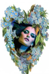 Portrait in a forget-me-not frame