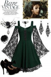 Green dress with Black Lace