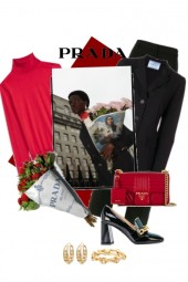 Prada in black and red
