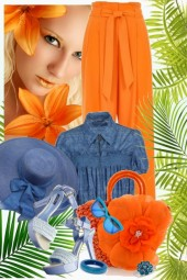nr 965 - Juicy Orange and denim blue