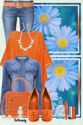 nr 1030 - Denim and orange