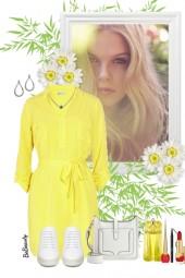 nr 3191 - Yellow shirt dress