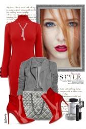 nr 3556 - Red sweater dress