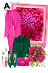 nr 3612 - Malachite green & hot pink