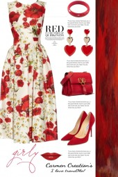 Jjourni's Floral Red Flower Sundress Outfit