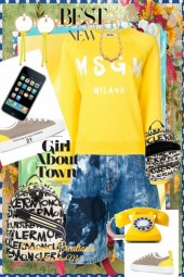 Journi's Urban Yellow Top and Shorts Outfit