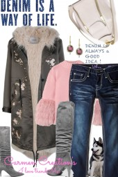Journi's Winter Coat And Denim Jeans Outfit