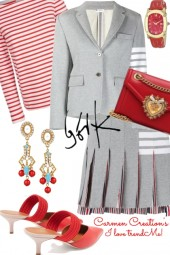 Journi's Spring Grey And Red Suit Outfit