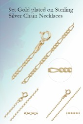 9ct Gold plated on Sterling Silver Chain Necklaces