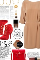 Red Boots & Beige Dress
