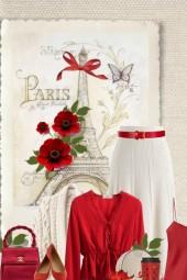vintage inspired red & beige