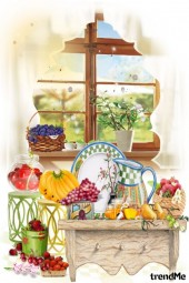 Spring Morning, flowers and fruits