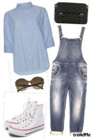 Zoella: Striped Shirt, Denim Dungarees