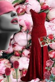 Rød sid kjole med roser på tilbehøret