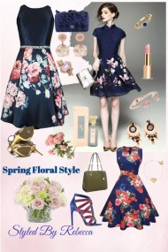 Spring Floral Style -Navy