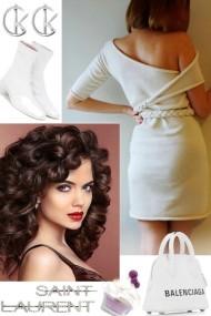 WHITE COLD SHOULDER DRESS ,.;'`~