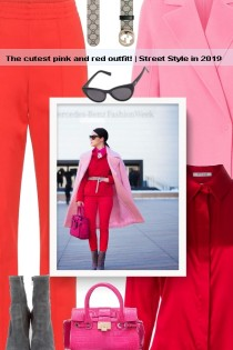 The cutest pink and red outfit! | Street Style in