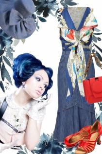 Blått skjørt og rød/hvit og blå topp