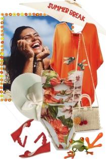 Badedrakt med blomster og oransje