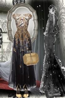 Sort sid kjole med gull