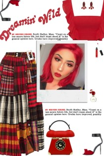 How to wear a Patchwork-Tartan Pleated Midi Skirt!
