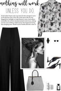 How to wear an Abstract Print Tie Neckline Blouse!