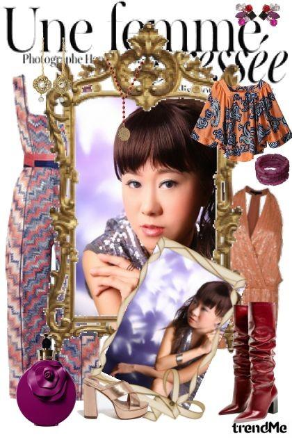 Une femme purple grape fruit orange tagline Fall- Fashion set