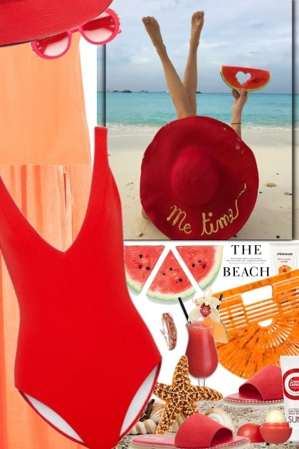 On the beach... in red- Fashion set